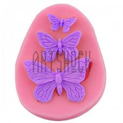 Силиконовый молд 3D (вайнер), бабочки, размер 6 х 7.6 см., толщина 0.8 см., REGINA