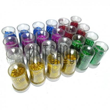 """Набор блесток сухих мелких (глиттера), """"насыщенный"""" цвет, 14 грамм, 24 штуки"""