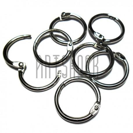 Набор колец металлических для переплета, разъёмных, диаметр 2.4 см., 7 штук