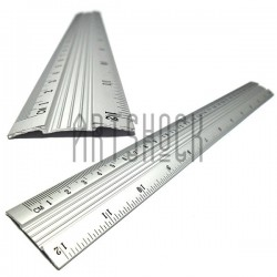 Линейка алюминиевая двусторонняя шкала для паспарту, 30 см.