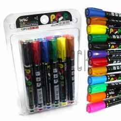 Набор цветных маркеров для сухостираемых досок и флипчартов, 12 цв., LETO