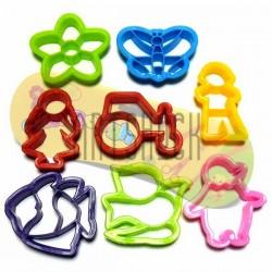 Набор детских пластиковых каттеров (резаков) для полимерной глины и пластилина, 8 шт., Color Dough
