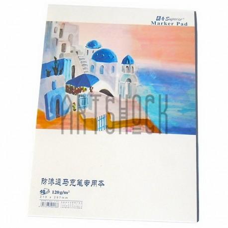 Альбом для маркеров MARKER PAD А4, 120 гр./м², 40 листов, склейка, Superior
