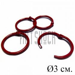 Набор колец металлических красных для переплета (скрапбукинга), разъёмных, Ø3 см., 4 штуки, REGINA