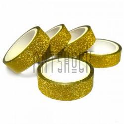 Скотч декоративный бумажный с глиттером, золотой, 15 мм., 3 метра | Декоративные скотчи купить в Киеве и Украине