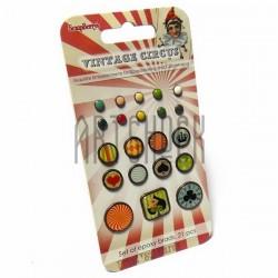 Набор брадсов для скрапбукинга Vintage Circus - Старый цирк, 21 штука, ScrapBerry`s