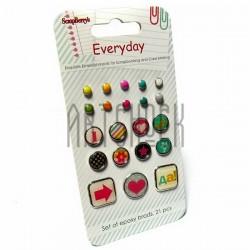 Набор брадсов для скрапбукинга Everyday 1 - День за днем 1, 21 штука, ScrapBerry`s