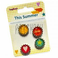 Набор декоративных пробок на двухстороннем скотче для скрапбукинга This Summer - Это лето, 21 штука, ScrapBerry`s