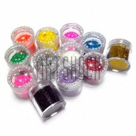 Набор блесток сухих мелких (глиттера) для дизайна ногтей, 7 грамм, 12 штук