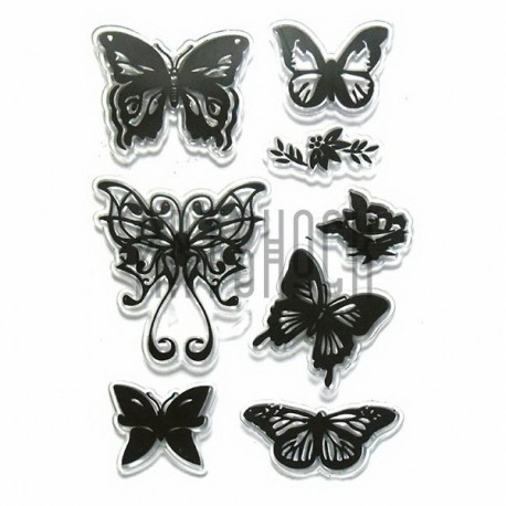 """Штампы для скрапбукинга (силиконовые штампы), набор """"Бабочки"""", 11 х 15 см."""