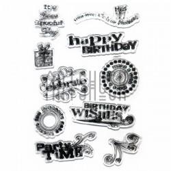"""Штампы для скрапбукинга (силиконовые штампы), набор """"Happy Birthday"""", 11 х 15 см."""