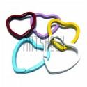 Набор колец цветных для ключей (брелков) в виде сердца 3 x 3.2 см., 5 штук, REGINA