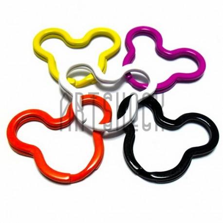Набор колец цветных для ключей (брелков) в виде звезды ∅3.4 см., 5 штук, REGINA
