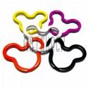 Набор колец цветных для ключей (брелков) в виде Микки Мауса 3.8 x 3 см., 5 штук, REGINA