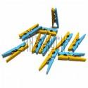 Набор желто - голубых деревянных декоративных мини - прищепок, 3 см., 10 штук, REGINA