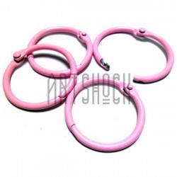 Набор колец металлических розовых для переплета (скрапбукинга), разъёмных, Ø3 см., 4 штуки, REGINA