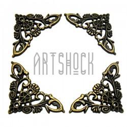 """Набор металлических накладок - филигрань для декора шкатулок и сундуков, """"античная латунь"""", 3.5 x 3.5 см., 4 штуки, REGINA"""