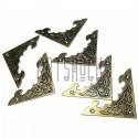 """Набор металлических накладок - филигрань для декора шкатулок и комодов, """"античная латунь"""", 40 x 40 мм., 6 штук, REGINA"""