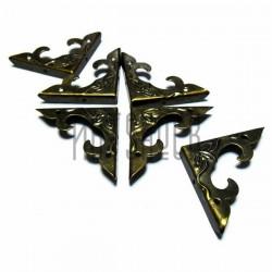 """Набор металлических накладок - филигрань для декора шкатулок и комодов, 3D """"античная латунь"""", 30 x 30 x 4 мм., 6 штук, REGINA"""