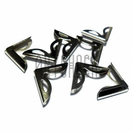 """Набор металлических уголков для блокнотов (альбомов) """"серебро"""" - 19 х 19 х 3 мм., 8 штук"""