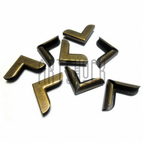 """Набор металлических уголков для блокнотов (альбомов) """"античная латунь"""" - 20 х 20 х 5 мм., 8 штук"""