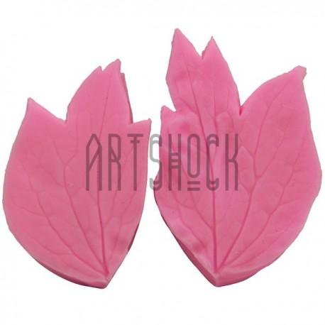 Силиконовый молд 3D (вайнер), лист розы 2 части, размер 4.5 х 2.7 см, толщина 1.2 см., REGINA