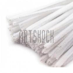 Белая пушистая проволока шенил (синельная проволока, декоративный ёршик)