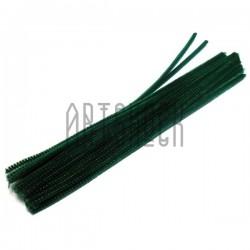 Темно - зеленая пушистая проволока шенил (синельная проволока, декоративный ёршик)