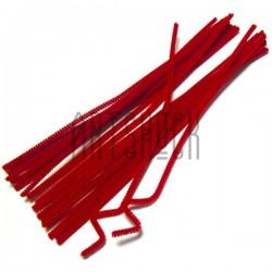 Красная пушистая проволока шенил (синельная проволока, декоративный ёршик)