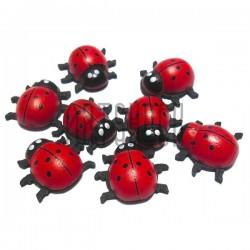 """Набор красно - черных декоративных подвесок """"Божьи коровки"""", 19 x 20 мм., 8 штук, REGINA"""