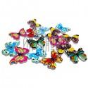 """Набор цветных деревянных декоративных пуговиц """"Бабочки"""", 28 x 20 мм., 15 штук, REGINA"""