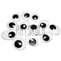 Набор косых глазок с бегающим (подвижным) зрачком для игрушек и кукол, 13 x 10 мм., 12 штук