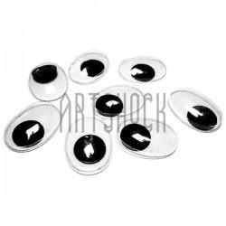 Набор косых глазок с бегающим (подвижным) зрачком для игрушек и кукол, 20 x 15 мм., 8 штук