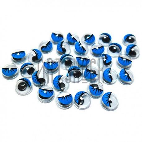 Набор декоративных глазок, круглые голубые с ресницами, 6 мм., 30 штук