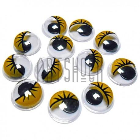 Набор декоративных глазок, круглые жёлтые с ресницами, 1 см., 12 штук