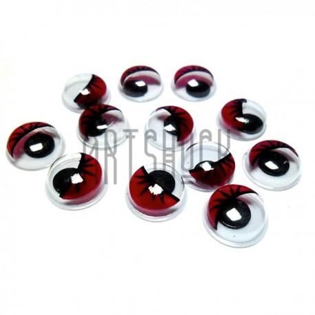 Набор декоративных глазок, круглые красные с ресницами, 10 мм., 12 штук