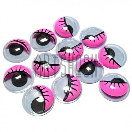 Набор декоративных глазок, круглые розовые с ресницами, 12 мм., 12 штук