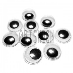 Набор круглых глазок с бегающим (подвижным) зрачком для игрушек и кукол, Ø1.2 см., 10 штук