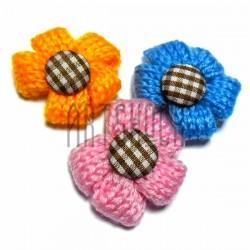 Набор декоративных вязаных цветков, Ø≈3.5 см., 3 штуки
