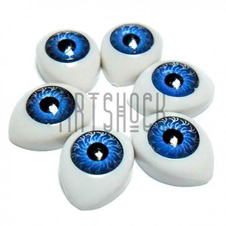 Набор декоративных глазок, круглые голубые, 14 мм., 6 штук