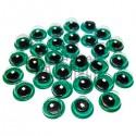 Набор зеленых глазок с бегающим (подвижным) зрачком для игрушек и кукол, Ø6 мм., 30 штук