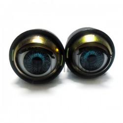 Набор голубых механических (закрывающихся) глазок с ресницами, Ø2 см., 2 штуки