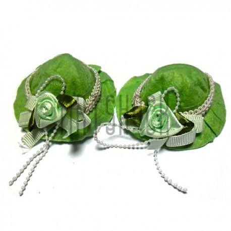 Набор декоративных фетровых шляпок, салатовые, диаметр 6 см., 2 штуки