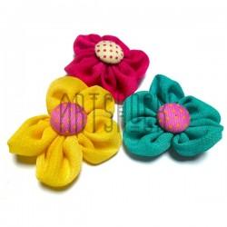 Набор декоративных тканевых цветов, Ø4 см., 3 штуки