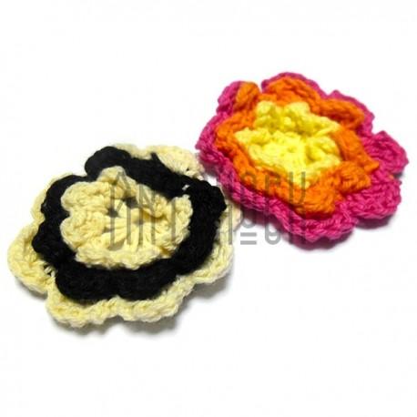 Набор декоративных тканевых цветов (макраме), 5 см., 2 штуки
