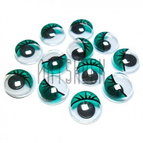 Набор декоративных глазок, круглые зеленые с ресницами, 1 см., 12 штук