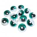Набор зеленых глазок с ресницами и бегающим (подвижным) зрачком для игрушек и кукол, Ø1 cм., 12 штук