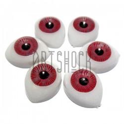 Набор розовых глазок с радужным зрачком для игрушек и кукол, 14 x 10 мм., 6 штук