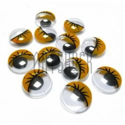 Набор желтых глазок с ресницами и бегающим (подвижным) зрачком для игрушек и кукол, Ø1.2 cм., 12 штук