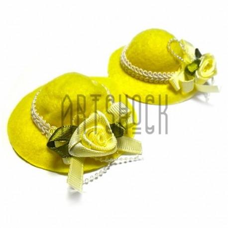 Набор декоративных жёлтых фетровых шляпок, диаметр 6 см., 2 штуки